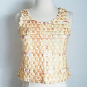 St John Embroidered Checker Sweater Tank Crop Top